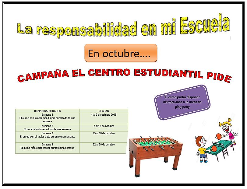 El Centro Estudiantil organiza actividades para promover la responsabilidad.